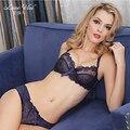Moda rendas sexy profundo decote em V push up roupa interior cor sólida calcinha Underwear conjunto de sutiã lingerie oco