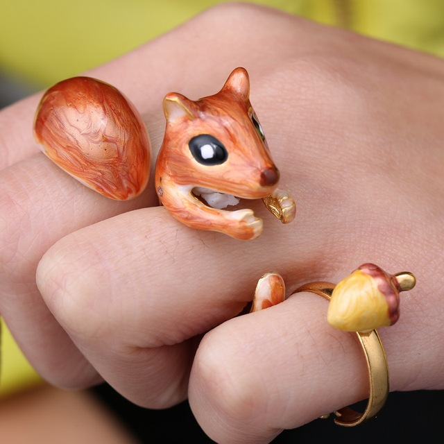 Must Have Handmade,Adjustable Size,Cute Little Gold Plated Squirral Trying To Get His Acorn,3 Piece Ring Set
