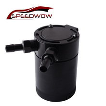 "SPEEDWOW 400ml Universal 3/8"" NPT Inlet Outlet Compact Baffled Oil Catch Can Tank Aluminum 2-Port Oil Catch Can Reservoir Tank"