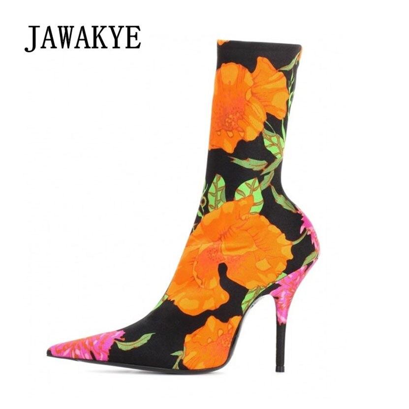 JAWAKYE Pointed toe Sock Ankle Boots Women Party High Heels Elastic Short boots Female Socks Bandage Ankle boots Women Pumps half toe mesh ankle socks