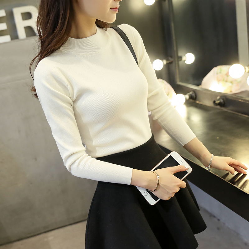 2016 Autumn Women's O-neck sweater long-sleeve Solid High Elastic Knitted Sweater  Slim Basic Pullovers White Knitwear S M L