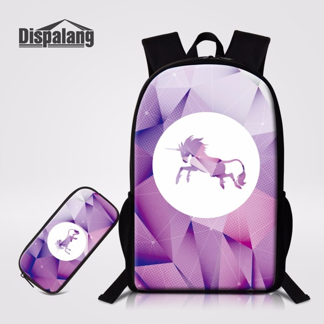 91b84c4acc Dispalang Animal Unicorn Backpack Pencil Case 2PCS Set 16 inch Children  School Bags Back Pack For Youth Travling Casual Book Bag