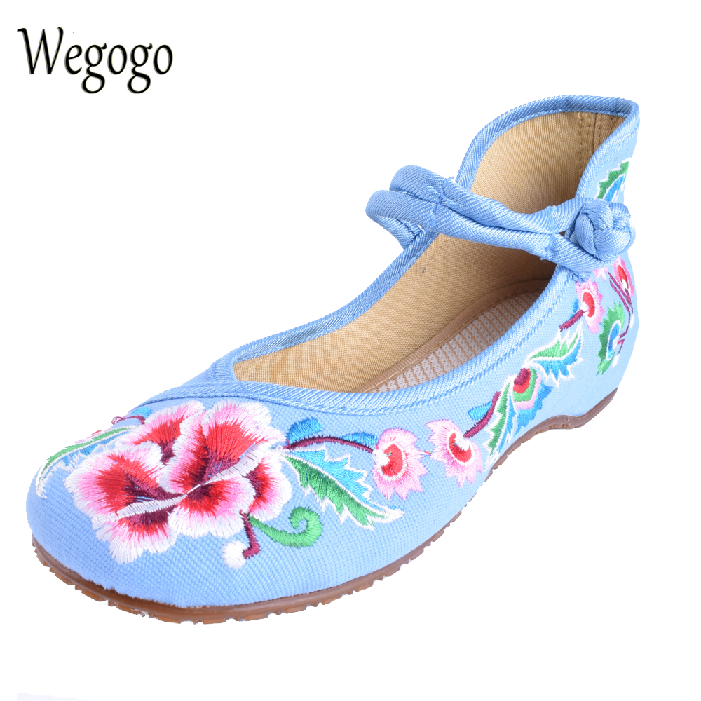 Wegogo 29 Colors Women's Embroideried Flats Shoes Denim Shoes Flats Ladies Soft Sole Casual Ballet Dancing Shoes wegogo ethnic women embroidery shoes mary jane shoes flats dance soft canvas dancing shoes zapatos mujer ladies flat shoes
