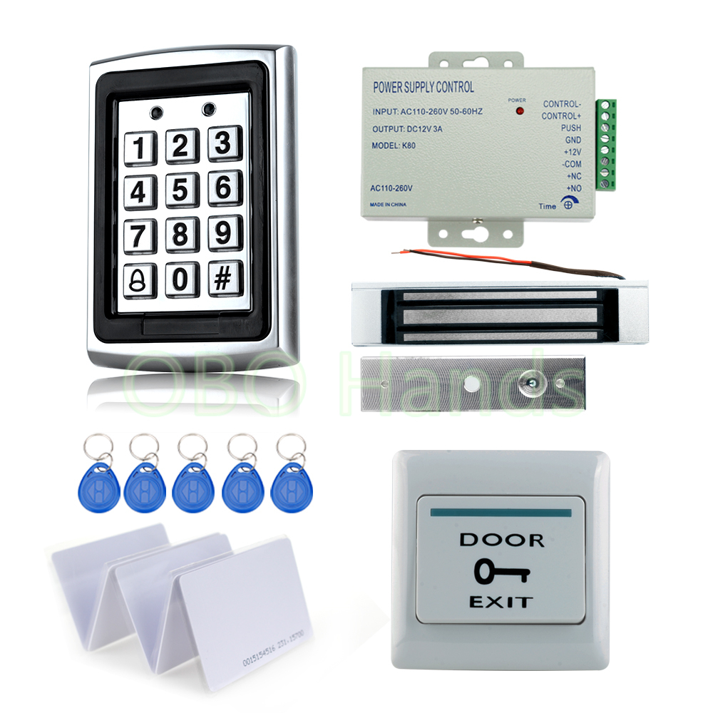 Full RFID Door Access Control System Kit Set metal access control keypad with 180KG magnetic lock+power+exit switch+10 key cards full kit access control biometric fingerprint x6 electric strik lock power supply exit button door bell remote control key cards