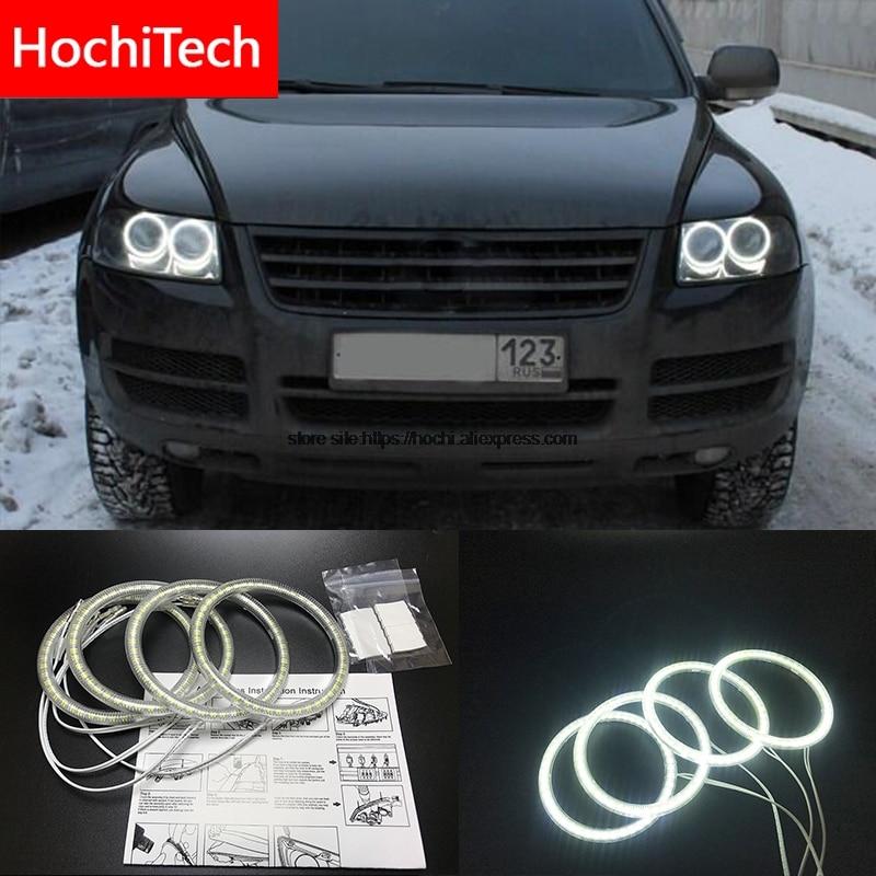 HochiTech for Volkswagen VW Touareg 2003-2006 Ultra bright SMD white LED angel eyes 12V halo ring kit daytime running light DRL цена