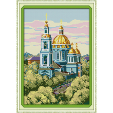 Everlasting love Russian building scenery Chinese cross stitch kits Ecological cotton printed 11CT DIY new Christmas decorations