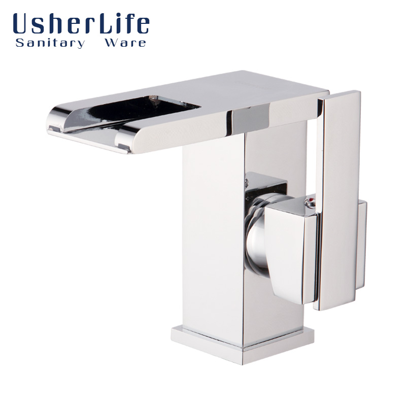 LED Brass Basin Faucet Waterfall Chrome Bathroom Sink Faucets Temperature Sensor Color Usherlife Changing Mixer Tap Single Lever