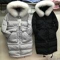 Las nuevas mujeres de invierno cuello de piel de zorro chaqueta de plumón de pato abrigo largo parkas de piel natrual casual chaqueta con capucha caliente de la nieve abrigo