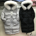 new winter women fox fur collar jacket duck down long coat natrual fur parkas casual warm hooded jacket snow overcoat