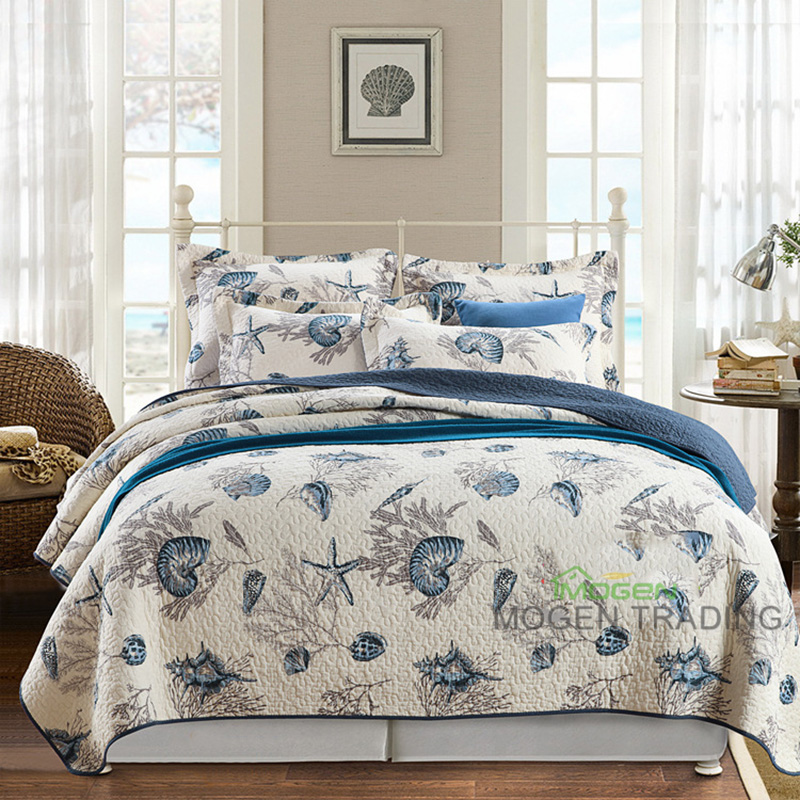 CHAUSUB Marine Style Cotton Quilt SET 3PCS Quilted Bedspread Trykt Quilts Sengetrekk King Size Coverlet Set Pillowcase Sengetøy