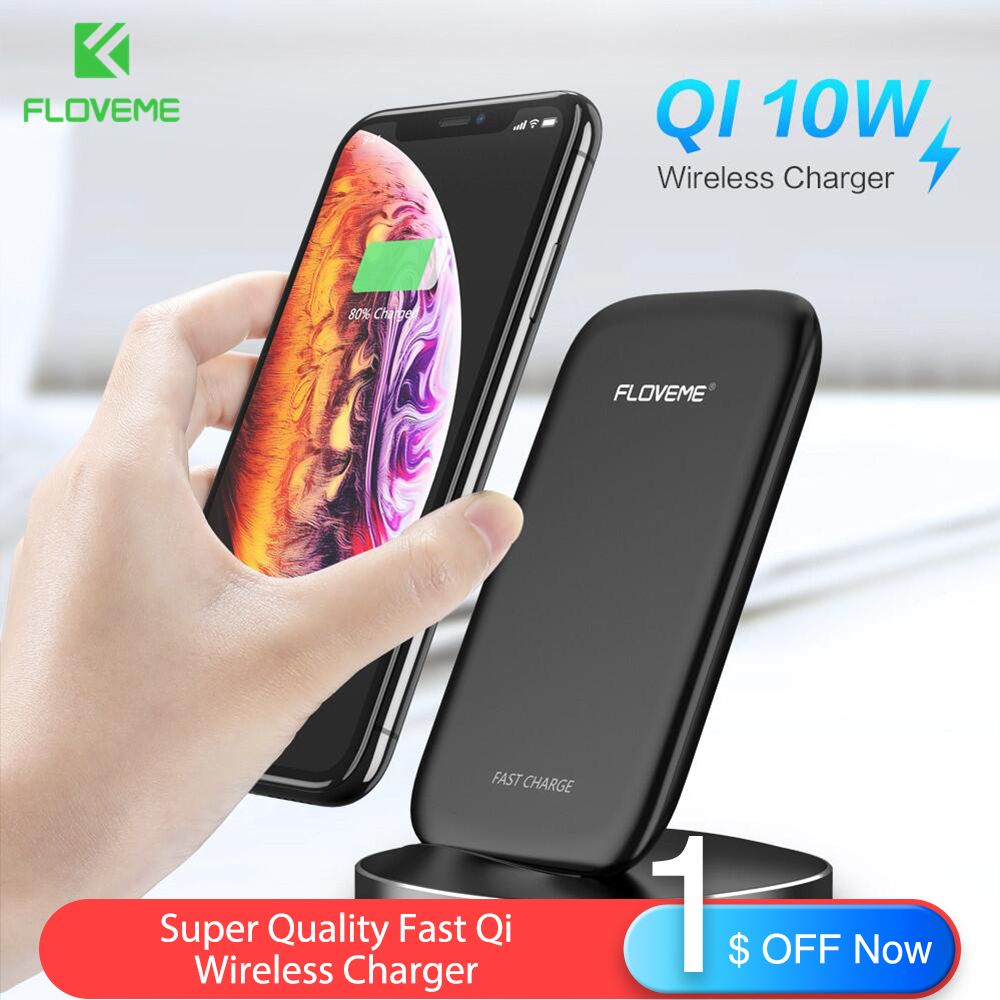 FLOVEME New 10W Wireless Charger For iPhone XS X XR 8 Plus Fast Qi Samsung Galaxy S10 S10e S9 S8 Dock