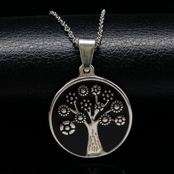 2017 tree of life silver color stainless steel necklace for women fashion round black enamel necklace.jpg 250x250