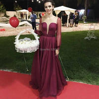 YNQNFS ED34 Robe De Soiree Illusion Neck Sheer Long Sleeves Burgundy Party Bridesmaid Dress Elegant Vestido de Festa Longo