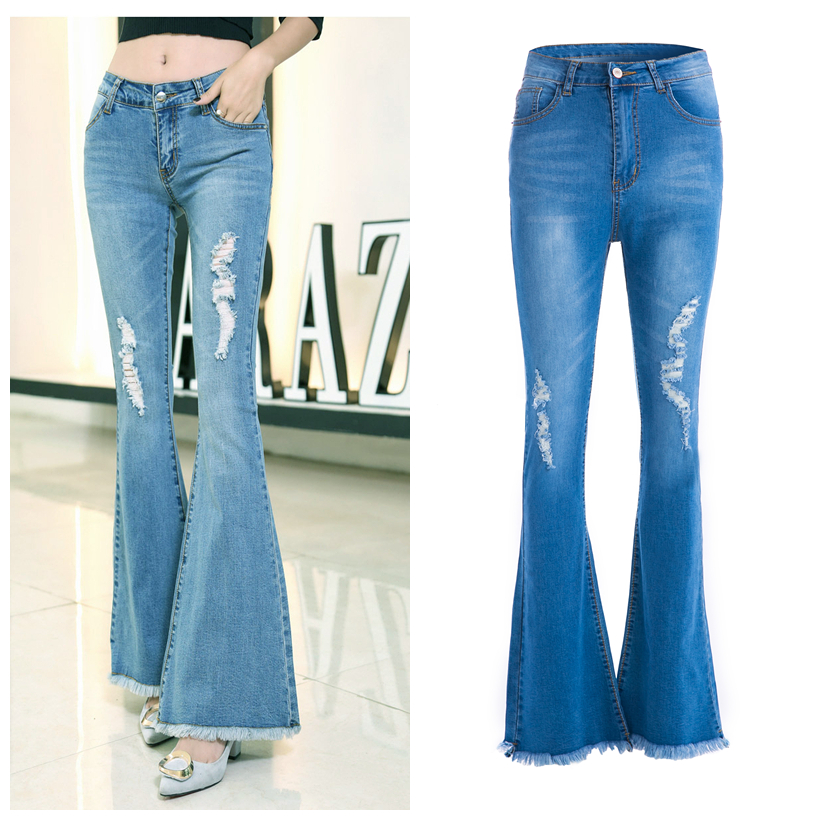 Womens Flare Jeans Wide Leg Ripped Denim Pants Elegant Office Lady Retro Bell Bottoms Jean Female Stretchy Maxi Skinny Trousers in Jeans from Women 39 s Clothing