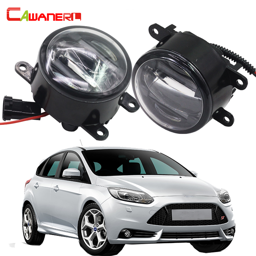 Cawanerl For Ford Focus II Car Styling Right + Left Fog Light LED Daytime Running Lamp DRL High Power 2 Pieces buildreamen2 2 pieces car led light front left right fog light drl daytime running light white for toyota blade altis ist