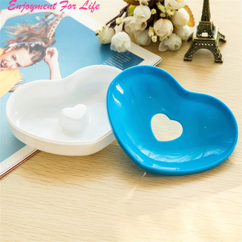 Hot Toilet Soap Silicone Holder Plate 2016 New Arrival High Quality Bathroom Heart Shape Soapbox Soap Dish Free Shipping Dec 13 image