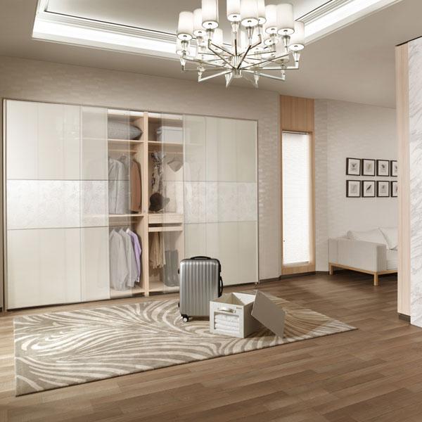 New Design Latest Decorative Veneer Sliding Mirror Wardrobe Doors YG61402