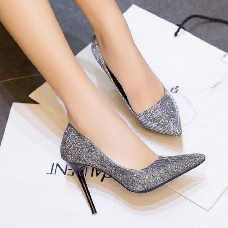 2018 Summer Europe and the United States style high-heeled shoes shallow mouth sequin sexy high heels europe and the united states popular bar chairs wholesale and retail australian fashion coffee stool free shipping