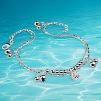 Solid Genuine 925 sterling silver crown anklets simple silver anklets double bells pure real silver anklet
