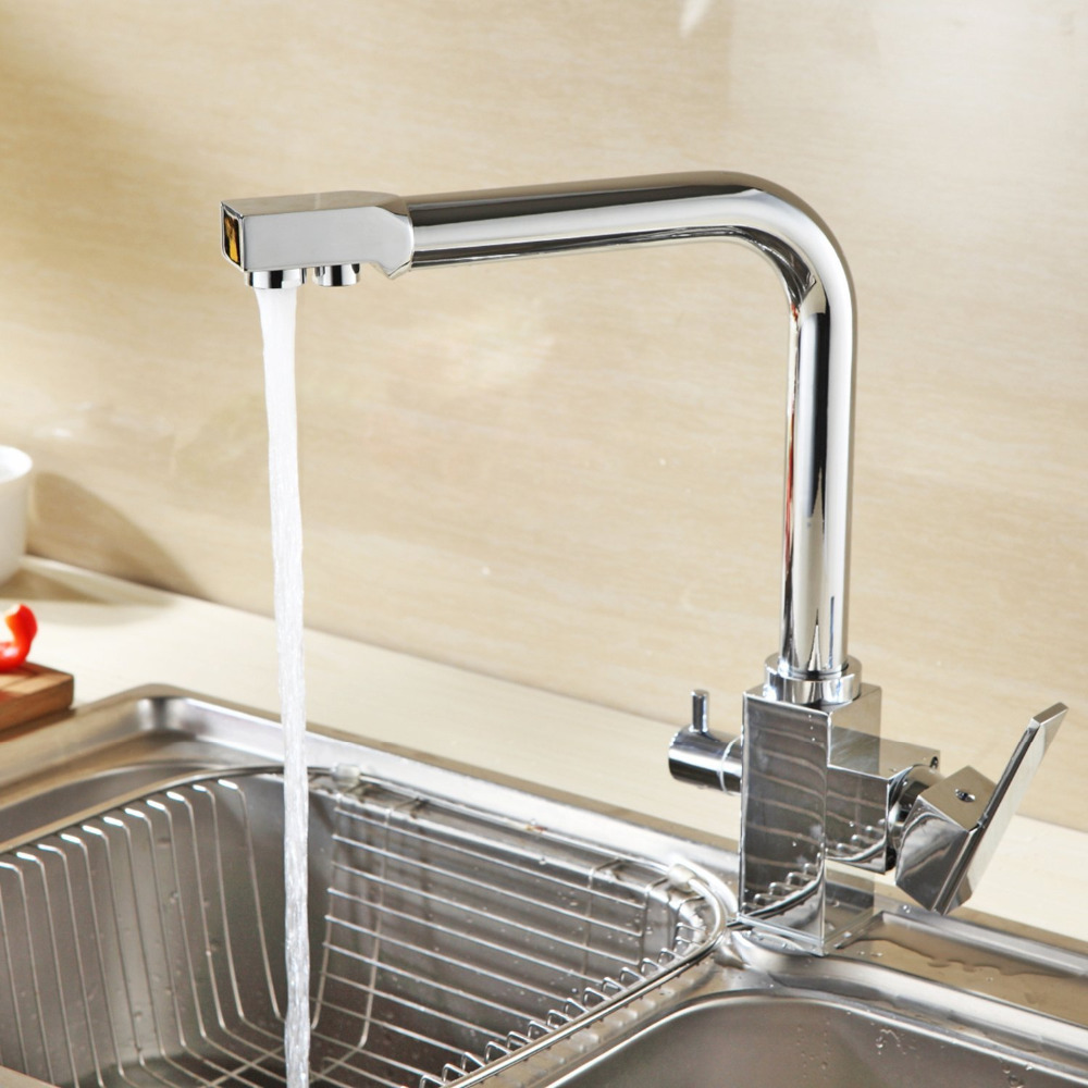Fabrik Direkt Großhandel Verchromt Osmose Reverse Triflow Wasserfilter Wasserhahn Drei Möglichkeiten Sink Mixer 3 Way Küchenarmatur