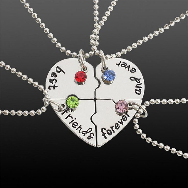 Pendant Best Friends Forever Necklace New Hot Jewelry Four Parts Puzzle  Heart-Shaped Stitching Inlaid e4bf58cd99ab