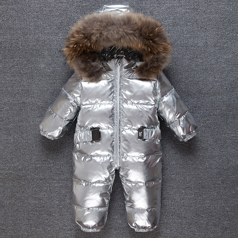 Mioigee Newborn Girls Duck Down Jumpsuit Overalls Baby Winter Snow Coveralls Boy Fur Romper Outfits Outdoor One Piece size 9M-3T