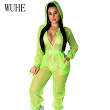 WUHE High Quality Sexy Hooded Loose Organza Jumpsuits Elegant Long Sleeve See Through Autumn Playsuits Women Overalls