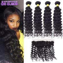 4 Bundles With Closure Peruvian Virgin Hair With Closure Peruvian Deep Wave With Closure 13×4 Lace Frontal Closure With Bundles