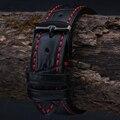 18 mm 19 mm 20 mm 21 mm 22 mm 23 mm 24 mm nuevos Mens alta calidad cuero genuino negro Croco Grain Red Stitch reloj correa de la banda