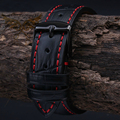 18mm 19mm  20mm 21mm 22mm 23mm 24mm  NEW Mens High quality Genuine Leather Black Croco Grain Red Stitch Watch Band Strap