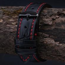 Ремешок для часов мужской, из натуральной кожи черного цвета с текстурой Кроко, красного цвета, 18 мм, 19 мм, 20 мм, 21 мм, 22 мм, 23 мм, 24 мм