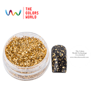 TCWZ802 Metallic Luster Gold Foil Colors Mylar Sheet Random Cut Size Flakes For Nail Decoration And