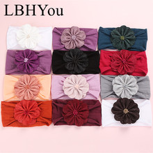 12PCS/Lot Soft Elastic Wide Nylon Headbands,Kids Girls Flowers Turban Head Wraps,Baby Floral Fabric Cloth Bands