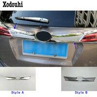 Car cover ABS chrome back rear door bottom trunk tailgate frame plate trim lamp 1pcs For toyota RAV4 2016 2017 2018