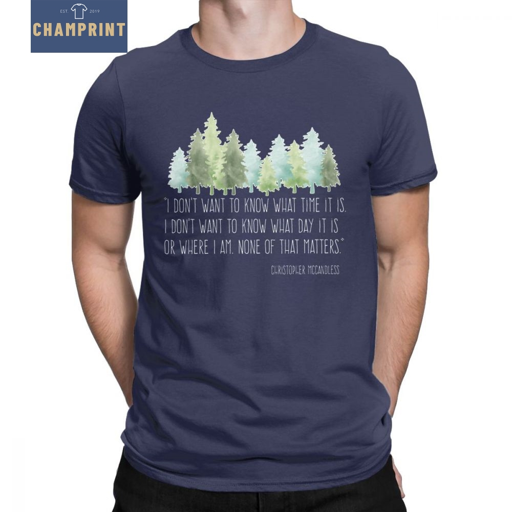 Into The Wild With Christopher McCandless T-Shirt Men Hiking Camping Outdoors Novelty Tees Crewneck Cotton Clothes Gift T Shirt