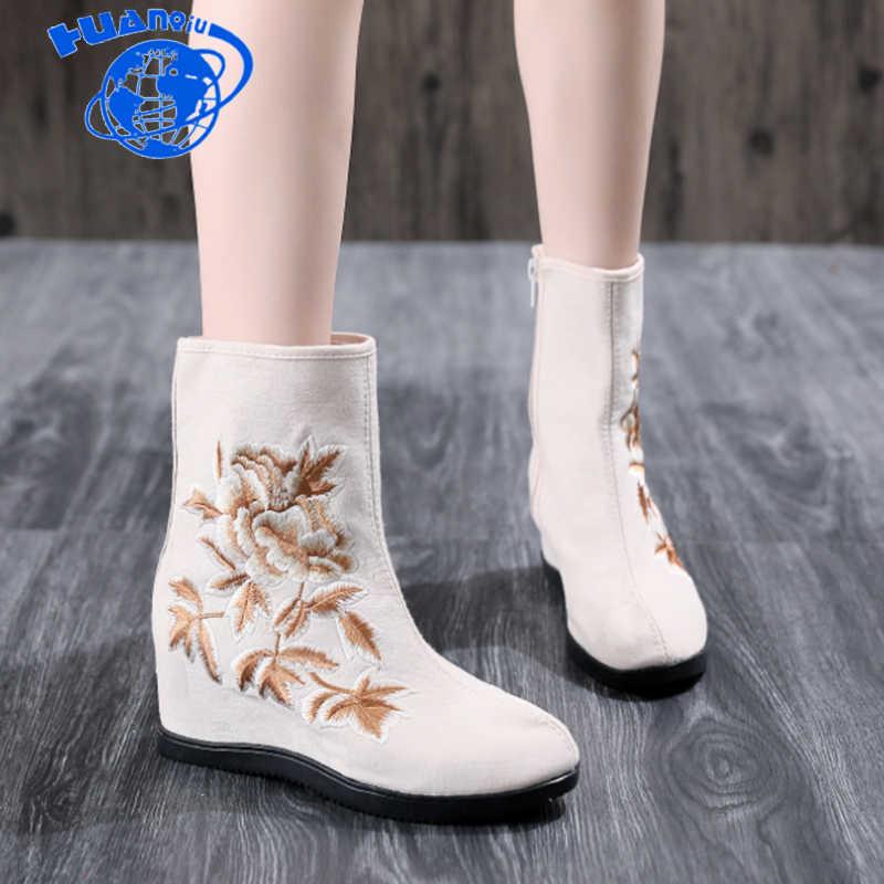 Huanqiu/2018 г. осенне-зимние ботинки с вышивкой в Национальном Стиле Женские ботинки в китайском стиле танцевальная обувь на высоком каблуке Женская обувь ZLL614