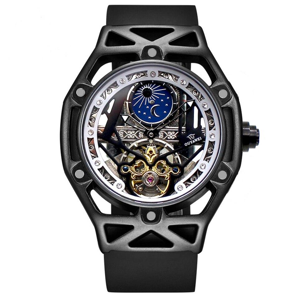 OUYAWEI soleil & lune automatique affaires hommes mécanique montre haut de gamme de luxe Tourbillon montre squelette montre-bracelet Gif relogio