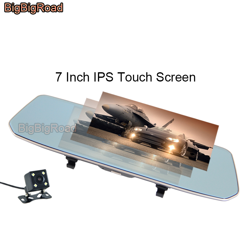 цена на BigBigRoad For Dodge journey caliber ram 1500 2500 nitro challenger Car DVR 7 Inch Touch Screen Rear View Mirror Video Recorder
