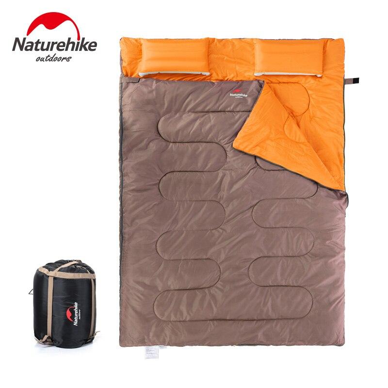 Naturehike Новый хлопковый спальный мешок для 2 человек, спальный мешок для кемпинга с подушкой, спальный мешок для полудня