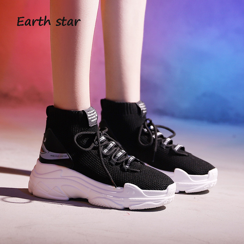 ... Brand STAR Lady Sneakers chaussure Shoes White footware Fashion Good EARTH  Breathable Quality Sock Shoes Platform ... 6fa3038c913b