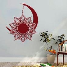 цена на Moon And Sun Wall Decals Mandala Sticker Symbol Nights And Day Bohemian Boho Indian Decor Vinyl poster Home Bedroom Window WW-89