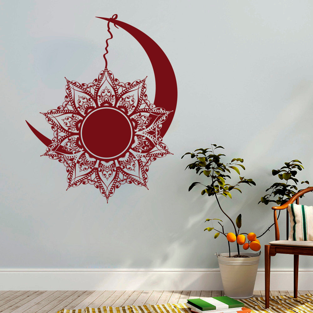 online buy wholesale sun wall decal from china sun wall decal  - moon and sun wall decals mandala sticker symbol nights and day bohemianboho indian decor vinyl