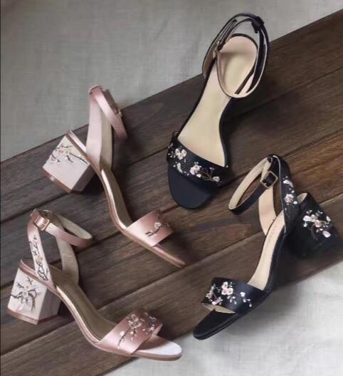 2017 newest ankle strap high heel sandal high quality satin flower embroidery thick heels sandal for woman open toe sexy sandal high quality white color violin 1 4 violin handcraft violino musical instruments