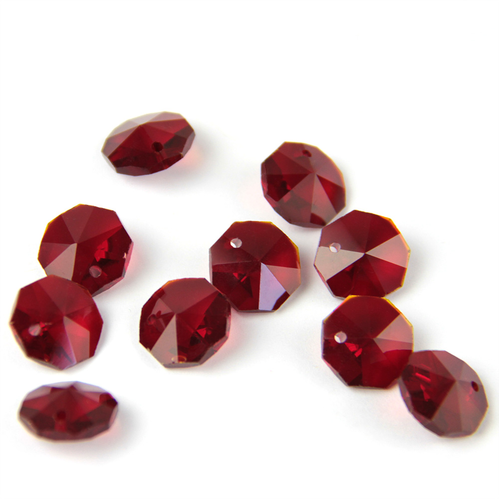 200PCS Lot Dark Red Color Chinapost 14mm Crystal Octagon Beads In 1 Hole For Wedding Strands