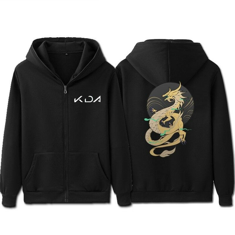 LOL KDA K/DA Akali Cosplay Black Sweatshirt Male Hoody Hip Hop Autumn Winter Zipper Hoodie Mens Pullover Casual Jacket Asia Size