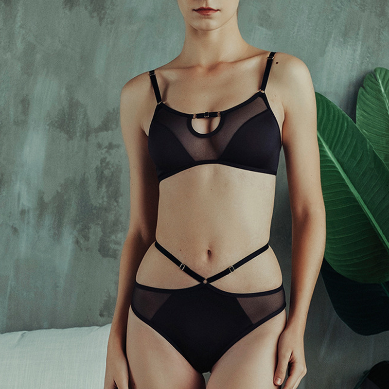 Fashion Women Underwear Sexy Brassiere Set Lace Ultra-thin Wire Free Sleep Lingerie French Bras Black Mesh&Lace Hollow Bra Panty