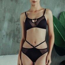 Fashion Women Underwear Sexy Brassiere Set Lace Ultra thin Wire Free Sleep Lingerie French Bras Black Mesh&Lace Hollow Bra Panty