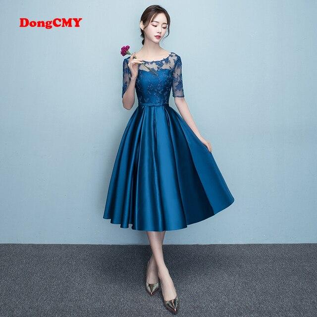 DongCMY Mới Xuất Hiện Ngắn Năm 2020 Bule Màu Hứa Đầm Dự Tiệc Sang Trọng Nữ Váy Đầm Dạ