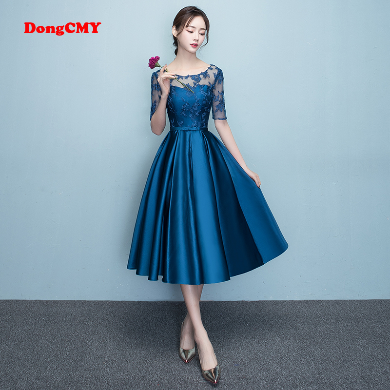 DongCMY New Arrival 2020 Short Bule Color Prom Dress Elegant Party Women Evening Dresses