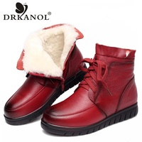 DRKANOL 2018 Women Snow Boots Vintage Genuine Leather Natural Wool Fur Winter Warm Ankle Boots For Women Flat Mother Shoes H7075